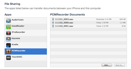 Transfer audio from PCMrecorder to PC
